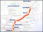 Image of Map from Anaheim to Las Vegas